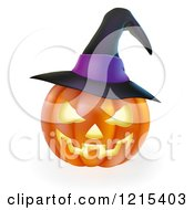 Clipart Of A Carved Halloween Jackolantern Pumpkin With A Purple Witch Hat Royalty Free Vector Illustration by AtStockIllustration