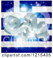 Clipart Of A 3d 2014 And Fireworks Over A Greek Flag Royalty Free Vector Illustration