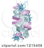 Clipart Of A 3d 2014 Suspended With Star Ornaments And A Happy New Year Greeting Banner Royalty Free Vector Illustration