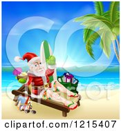 Clipart Of Santa Waving And Holding A Cocktail While Lounging On A Beach With Vacation Items 2 Royalty Free Vector Illustration