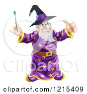 Clipart Of A Happy Old Wizard Holding A Thumb Up And Magic Wand Royalty Free Vector Illustration