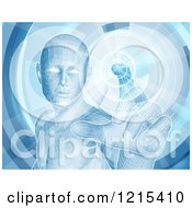 Clipart Of A Virtual Man Touching A Screen Royalty Free Vector Illustration by AtStockIllustration
