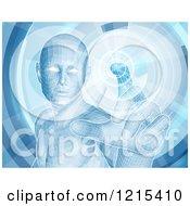 Virtual Man Touching A Screen