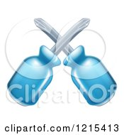 Clipart Of Crossed Blue Handled Screwdrivers Royalty Free Vector Illustration