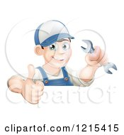 Poster, Art Print Of Happy Brunette Mechanic Man Wearing A Hat Holding A Wrench And A Thumb Up