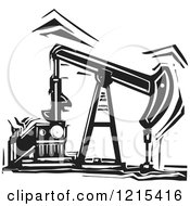 Clipart Of A Woodcut Oil Pump In Black And White Royalty Free Vector Illustration