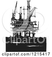 Clipart Of A Woodcut Oil Rig Platform In Black And White Royalty Free Vector Illustration