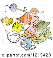Clipart Of A Cartoon Girl Carrying Cleaning Supplies And Laundry For Never Ending Chores Royalty Free Vector Illustration