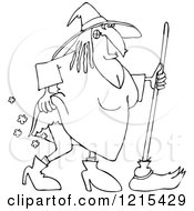 Clipart Of An Outlined Witch Lifting Her Dress And Farting Royalty Free Vector Illustration