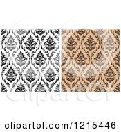 Clipart Of Black And White And Brown Seamless Vintage Damask Patterns Royalty Free Vector Illustration
