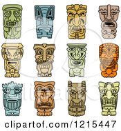 Clipart Of Idol And Demon Tribal Masks Royalty Free Vector Illustration