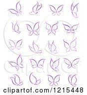 Clipart Of Purple Butterflies Royalty Free Vector Illustration