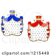 Clipart Of Crowns And Royal Mantles With Red And Blue Drapes Royalty Free Vector Illustration