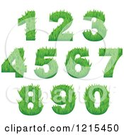 Clipart Of Green Grassy Numbers Royalty Free Vector Illustration