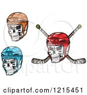 Clipart Of Skulls With Hockey Helmets And Sticks Royalty Free Vector Illustration