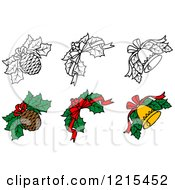 Clipart Of Black And White And Colored Christmas Holly With Pine Cones Bells And Bows Royalty Free Vector Illustration by Vector Tradition SM