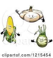 Clipart Of White Pumpkin Corn And Turnip Characters Royalty Free Vector Illustration