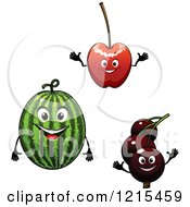 Clipart Of Redcurrant Watermelon And Cherry Characters Royalty Free Vector Illustration