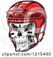 Clipart Of A Grinning Skull With A Red Hockey Helmet Royalty Free Vector Illustration