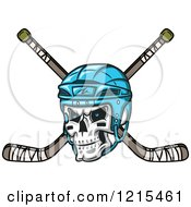 Clipart Of A Grinning Skull With A Blue Hockey Helmet Over Crossed Sticks Royalty Free Vector Illustration