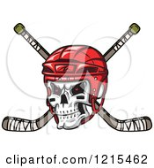 Clipart Of A Grinning Skull With A Red Hockey Helmet Over Crossed Sticks Royalty Free Vector Illustration