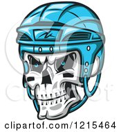 Poster, Art Print Of Grinning Skull With A Blue Hockey Helmet