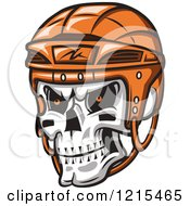 Clipart Of A Grinning Skull With An Orange Hockey Helmet Royalty Free Vector Illustration