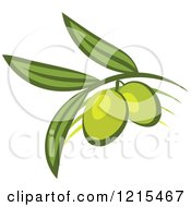 Clipart Of Green Olives With Leaves 2 Royalty Free Vector Illustration