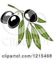 Clipart Of Black Olives With Leaves 5 Royalty Free Vector Illustration