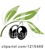 Clipart Of Black Olives With Leaves 6 Royalty Free Vector Illustration