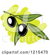 Clipart Of Black Olives With Leaves 4 Royalty Free Vector Illustration