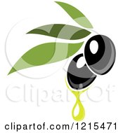 Clipart Of Black Olives With Leaves And Oil Drops 2 Royalty Free Vector Illustration
