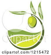 Clipart Of A Green Olive With Leaves And Rolling Hills Royalty Free Vector Illustration