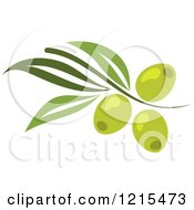 Clipart Of Green Olives With Leaves Royalty Free Vector Illustration