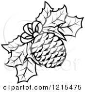 Clipart Of A Black And White Christmas Pinecone And Holly Royalty Free Vector Illustration by Vector Tradition SM