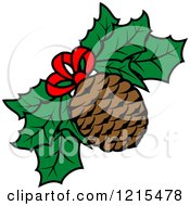 Clipart Of A Christmas Pinecone And Holly Royalty Free Vector Illustration by Vector Tradition SM