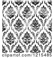 Clipart Of A Black And White Seamless Vintage Damask Pattern Royalty Free Vector Illustration