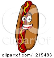 Clipart Of A Happy Hot Dog Character With Mustard Royalty Free Vector Illustration