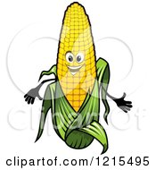 Clipart Of A Happy Corn Mascot Royalty Free Vector Illustration