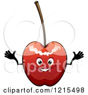 Clipart Of A Happy Cherry Character Royalty Free Vector Illustration