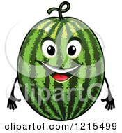 Clipart Of A Happy Watermelon Character Royalty Free Vector Illustration