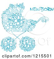 Clipart Of A Blue Floral Doodle Baby Carriage And Newborn Text Royalty Free Vector Illustration
