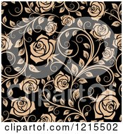 Clipart Of A Seamless Pattern Of Tan Roses On Black Royalty Free Vector Illustration