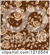 Clipart Of A Seamless Pattern Of Tan Roses On Brown Royalty Free Vector Illustration