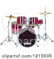 Clipart Of A Red Drum Set Royalty Free Vector Illustration