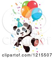 Cute Panda With A Party Hat Balloons And Confetti