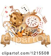 Clipart Of A Wonderland Parchment Banner With Tea Cards A Watch And Key Royalty Free Vector Illustration by Pushkin