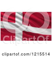 Clipart Of A 3d Waving Flag Of Denmark With Rippled Fabric Royalty Free Illustration