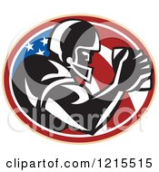 Clipart Of A Wide Receiver Running Back American Football Player Over A Patriotic Oval Royalty Free Vector Illustration