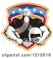 Clipart Of A Tackle Linebacker American Football Player Holding A Helmet Over A Shield Royalty Free Vector Illustration